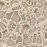 Cartoon cute hand drawn Xmass seamless pattern. Line art with lots of objects background. Endless funny vector illustration Stock Photography