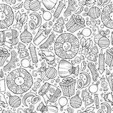 Cartoon cute hand drawn Xmass seamless pattern. Line art with lots of objects background. Endless funny vector illustration Royalty Free Stock Photos