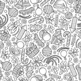 Cartoon cute hand drawn Xmass seamless pattern. Line art with lots of objects background. Endless funny vector illustration Stock Photos