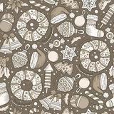 Cartoon cute hand drawn Xmass seamless pattern. Line art with lots of objects background. Endless funny vector illustration Royalty Free Stock Images