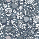 Cartoon cute hand drawn Xmass seamless pattern. Line art with lots of objects background. Endless funny vector illustration Royalty Free Stock Photography