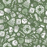 Cartoon cute hand drawn Xmass seamless pattern. Line art with lots of objects background. Endless funny vector illustration Royalty Free Stock Image