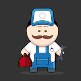 Cartoon cute handyman-mechanic Stock Images