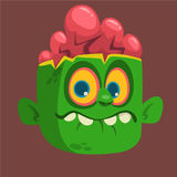 Cartoon Cute Happy Zombie Head. Halloween vector illustration. Royalty Free Stock Photo