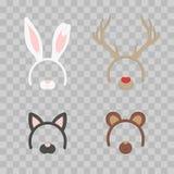 Cartoon Cute Headband with Ears Holiday Set isolated on transparent checkered. Rabbit, deer, cat, bear. Flat Design Stock Photography