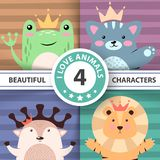 Cartoon cute hello animals - frog, cat, deer, lion. stock illustration
