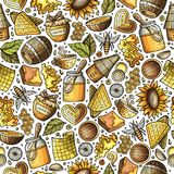 Cartoon cute Honey seamless pattern. Cartoon cute hand drawn Honey seamless pattern. Colorful detailed, with lots of objects background. Endless funny vector Stock Image