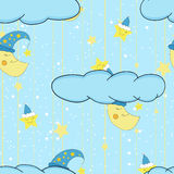 Cartoon cute illustration seamless pattern for a child's room or bed linen and pajamas with smiling moon and stars. Vector Stock Photo