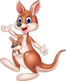 Cartoon cute kangaroo waving hand with baby joey. Isolated on white background Royalty Free Stock Photos