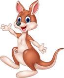 Cartoon cute kangaroo waving hand Stock Image