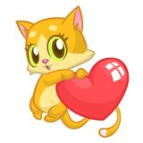 Cartoon cute kitty in love and holding a heart love. Vector illustration for St Valentines Day. Isolated. Cartoon cute kitty in love and holding a heart love Royalty Free Stock Photos