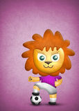 Cartoon cute lion, paper and fabric textures Royalty Free Stock Photo