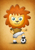 Cartoon cute lion, paper and fabric textures on texture background Stock Photo