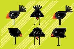 Cartoon blackbirds illustrations Royalty Free Stock Photo