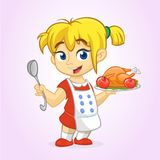 Cartoon cute little blond girl in apron serving roasted thanksgiving turkey  Royalty Free Stock Images