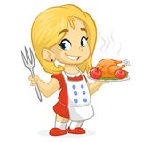 Cartoon cute little blond girl in apron serving roasted thanksgiving turkey Stock Images