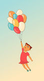 Cartoon cute little girl with balloon. Hand drawn. Stock Images