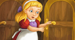 Cartoon cute little girl reaching to the key hole opening door Stock Photo