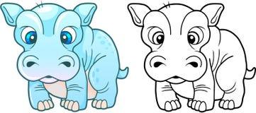 Cute little hippopotamus, funny design illustration Royalty Free Stock Images