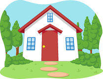 Cartoon of Cute Little House with Garden Stock Photo
