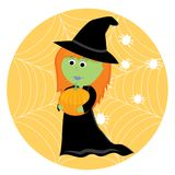 Cartoon cute little witch with pumpkin Stock Image