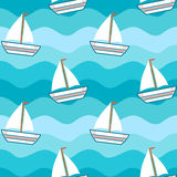 Cartoon cute lovely boat in the sea seamless pattern background illustration Stock Photos