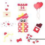 Cartoon cute lovely gift owl set vector image Stock Photography
