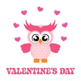 Cartoon cute lovely owl on the branch with text. Vector image of a cartoon cute lovely owl on the branch with text Royalty Free Stock Photo