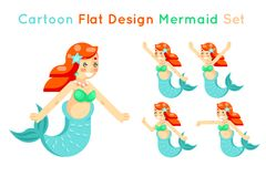 Cartoon cute mermaid girls set flat design  icons vector illustration Royalty Free Stock Photos