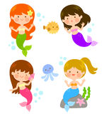 Cartoon cute mermaids. Four cute cartoon mermaids under the sea Royalty Free Stock Photography