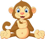 Cartoon cute monkey clapping his hands Royalty Free Stock Images