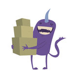 Cartoon cute monster shopping vector character illustration. Stock Photo