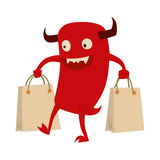 Cartoon cute monster shopping vector character illustration. Stock Image