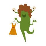 Cartoon cute monster shopping vector character illustration. Royalty Free Stock Photography