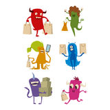 Cartoon cute monster shopping vector character illustration. Royalty Free Stock Image