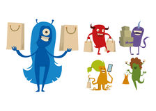 Cartoon cute monster shopping vector character illustration. Stock Images