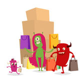 Cartoon cute monster shopping vector character illustration. Stock Photography