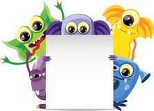 Cartoon cute monsters with banners.vector Royalty Free Stock Photography
