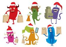 Cartoon cute monsters Christmas sale shopping Royalty Free Stock Image