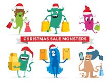 Cartoon cute monsters Christmas sale shopping Stock Photography