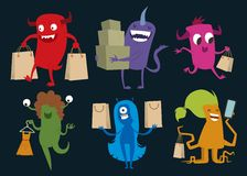 Cartoon cute monsters Christmas sale shopping Stock Image