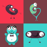 Cartoon cute monsters Stock Images