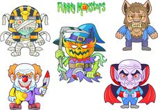 Cute monsters, set of vector images. Cartoon cute monsters, set of vector images Stock Images
