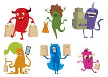 Cartoon cute monsters shopping vector Stock Photography