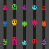 Cartoon cute monsters and stripes seamless pattern, vector. Illustration Royalty Free Stock Photography