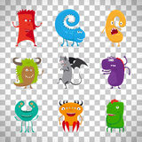 Cartoon cute monsters on transparent background Stock Image