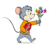 Cartoon cute mouse with heart gift box and flowers Royalty Free Stock Image