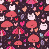 Cartoon cute mushroom seamless pattern Stock Image