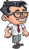 Cartoon cute nerd boy. With glasses. Isolated Royalty Free Stock Photo