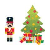 Cartoon cute nutcracker with fir tree. Vector image of a cartoon cute nutcracker with fir tree Stock Photos